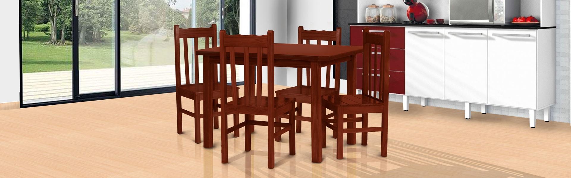Conjunto mesa 1,20 x 0,75 com 4 cadeiras de encosto alto mogno