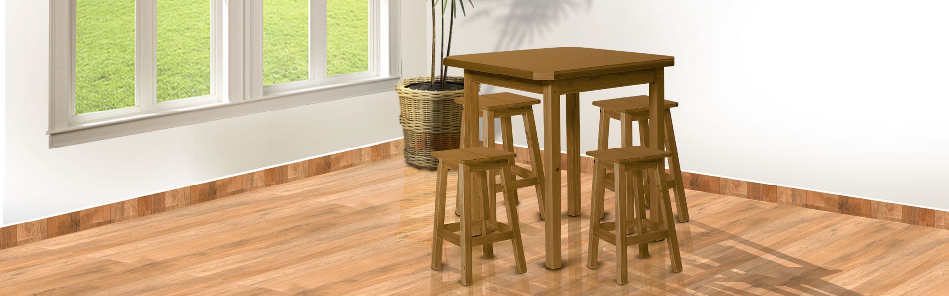 Conjunto mesa 0,75 x 0,75 com 4 banquetas em pinus imbuia